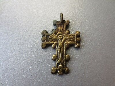 ORIGINAL ANCIENT BYZANTINE BRONZE GILDED CROSS JESUS CHRIST GOLGOTHA 18thCENTURY