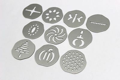 Set of 10 Replacement Cookie Disks for Pampered Chef Cookie Press Model 1526