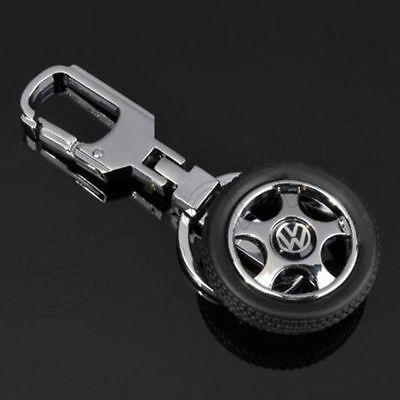 Thick Rubber Wheels Tyre Tire Keychain Key Chain Ring Keyring For VW New