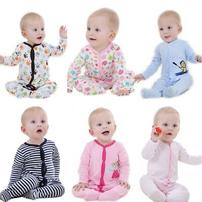 1Pcs Baby Romper Long Sleeve 100% Cotton Pajamas Cartoon Print Newborn Girls Boy