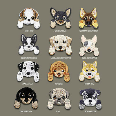 Sew On / Iron On Cute Dog Embroidered Patches Badge Dress Fabric Applique Craft
