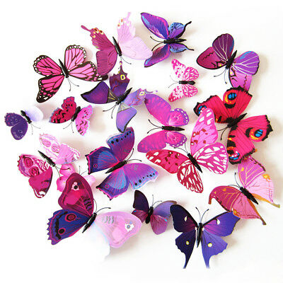 12pcs 3D Butterfly Whiteboard Fridge Magnet Refrigerator Sticker Home Decoration