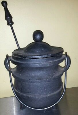 Black Cast Iron Fire Starter Kettle Smudge Pot & Pumice Stick Vintage?
