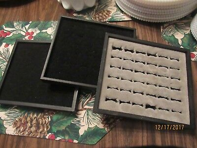 Half Tray Ring Display With Inserts Lot of 3