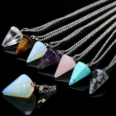 Natural Gemstone Crystal Healing Chakra Reiki Silver Stone Pendant Necklace vv