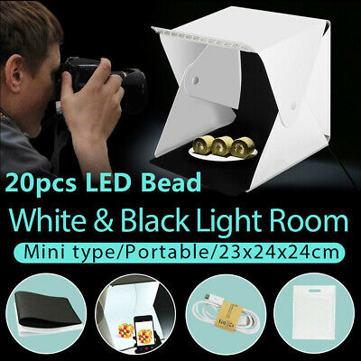 Portable Mini LED Light Tent Photo Studio Lighting Cube Soft Box w/ 2 Backdrops