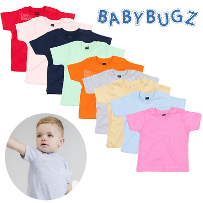 Baby T-Shirt Organic Cotton Comfort Plain Tee Top Soft Cute Colours Boys Girls