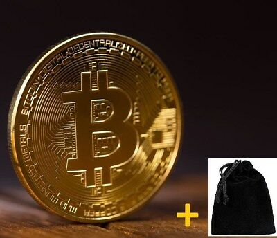 NEW BTC Bitcoin Coin Gold Plated Iron Collectible Gift + Pouch RAPID DELIVERY