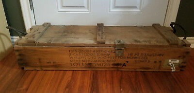 Vintage MILITARY WOOD BOX CRATE Ammo Howitzer Cannnon 105MM - Free Shipping