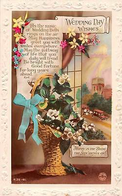 Wedding Day Wishes, Happiness, forget-me-not, flowers, basket 1931
