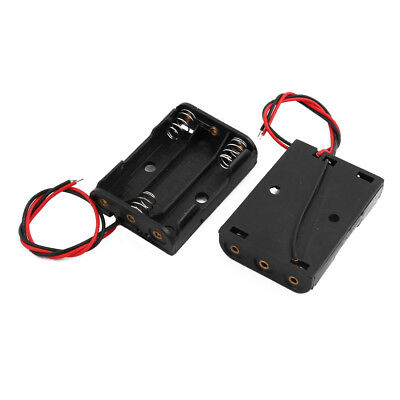 2 Pcs Black Plastic Battery Holder Case Wired for 3 x AA 1.5V New