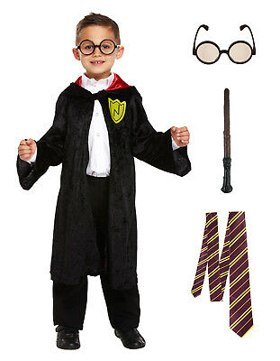 Kids Wizard Boy Costume Fancy Dress Book Week Child Dressing Up Outfit 4-12 Yrs