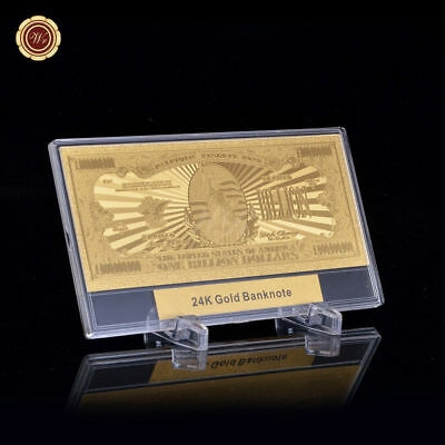 WR America US $1 Billion Dollars Bill Note GOLD Banknote Money In Dispaly