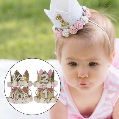 Baby First Birthday Party Hat Flower Princess Crown Decor Hair Accessory Hot x 1