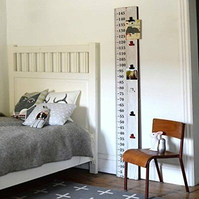 Wooden Ruler Photo Height Chart Industrial Retro style, with 7 bulldog clips