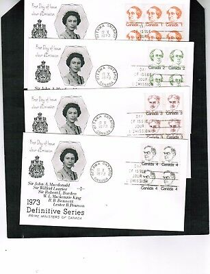 CANADA 1973 set OF 6 PRIME MINISTER & QUEEN  FDC  see scan cat 586+  BOX 212