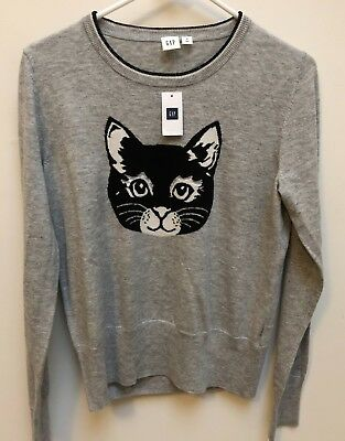 NWT GAP Sweater Pullover Cat Gray Women Size M