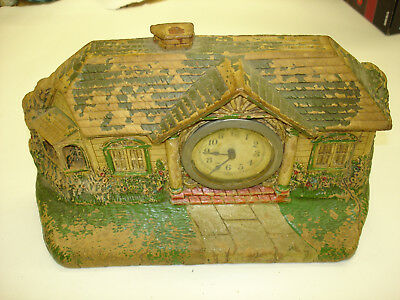 Antique Old Vintage bungalow Alarm Clock Don't not no if Works And Keep time Art