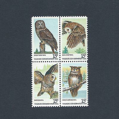 The American Owls - Vintage Mint Set of 4 Stamps 39 Years Old!