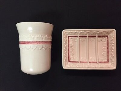 Vintage 2 Piece Pink Ceramic Soap Dish & Cup 50 Years Old Marked Italy on Each