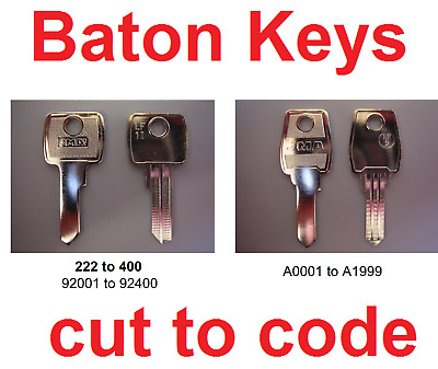 2 x Replacement Baton Keys Cut to Code Filing Cabinets Lockers & Desks FREE P&P