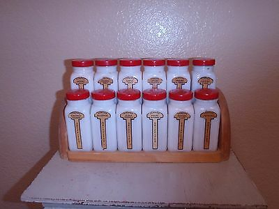 Vintage Griffith's Milk Glass Red Top Spice Rack Set
