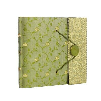 Fair Trade Handmade Small Green Sari Photo Album Scrapbook 2nd Quality
