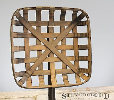 "Tobacco Basket, Rustic Farmhouse Decor, Sm 17"" Square Great Display for Wreaths"