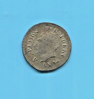 Haiti - Fantastic Historical A. Petion Silver 25 Centimes,  An 14 (1817) Km#15.2