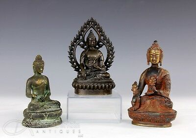Lot Of Three Chinese Bronze Statues Of Seated Buddhas