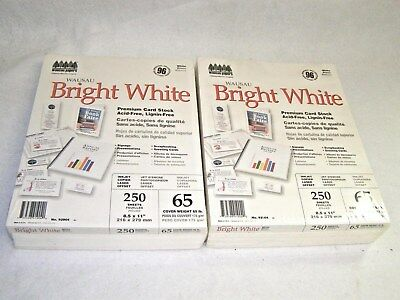 2 New Wausau 96 Bright White Premium Card Stock Paper 250 Sheets Each 65lb