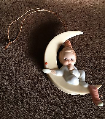 Memories of Yesterday Just Dreaming of You Boy on Half Moon Ornament 524786