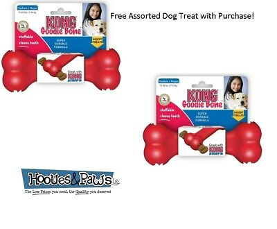 Kong GOODIE BONE Rubber Fetch Chew Dog Toy Classic Red Medium 2 PACK FREE TREAT