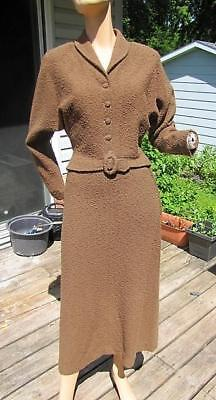 Vintage 1940S Lofties Brown Wool Chenille Knit Set Skirt & Top 26W