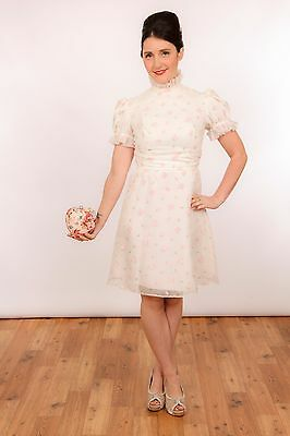 beautiful vintage white & pink rose high neck ruffle day dress 50s 60s audrey
