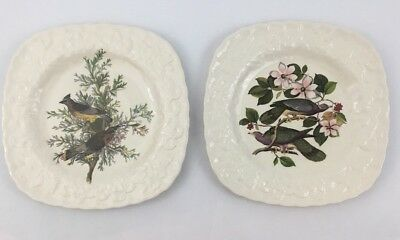 2 Alfred Meakin 9 inch Plate Birds of America England Cedar Band Tailed Pigeon