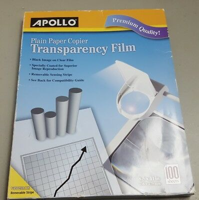 Apollo B/W Laser Transparency Film w/Removable Sensing Stripe Letter Clear 100