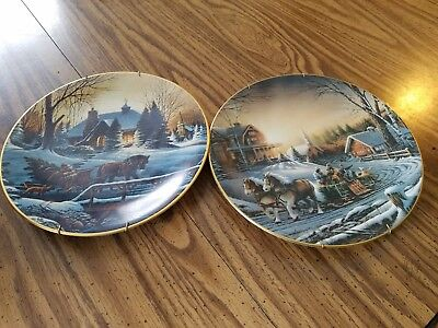 """Terry Redlin Pleasures of Winter 1992  Collector Plate 9 1/2"""" and Heading home e"""