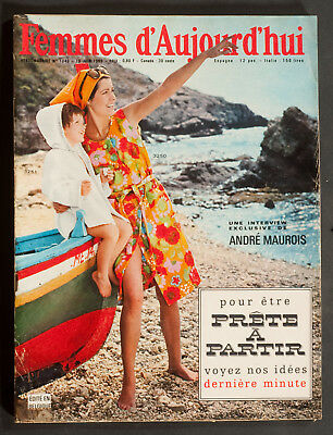 'femmes D'auourd'hui' French Vintage Magazine Pattern Holiday Issue 10 June 1965
