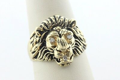 Vintage Estate 14K Yellow Gold M&GN 0.06 TCW Diamond Lion Head Face Ring - Sz 10