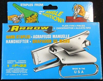"""""""arrow"""" P-22 Hand Stapler Plier Type Made In The Usa W/free Shipping!!!"""