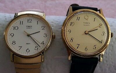 Lot Of 2 Timex Quartz Watches Vintage Men's Wr Leather & Stainless Steel Bands