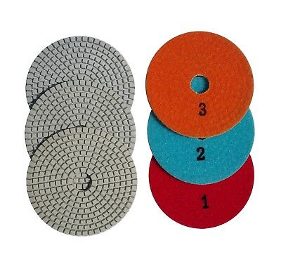 4 Inch 3 - Step Set Diamond Polishing Pads for Granite Concrete Marble Stone