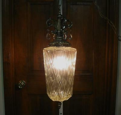 Vintage 70s Retro Hanging Swag Lamp Light Chandelier Fixture Hollywood Regency