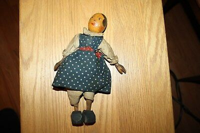 Antique Doll Wood Old Carved Spoon Hands Hand Painted Egg Head Iron Pivot