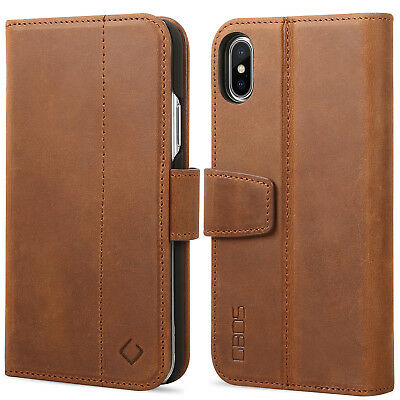 """GBOS® Genuine Real Leather Wallet Case Flip Folio Cover For iPhone X/XS(5.8"""")"""
