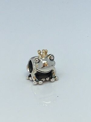 Authentic Pandora 14k Gold & Silver Frog Prince Crown Charm Bead 791118