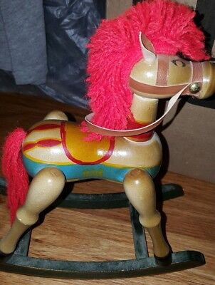 Decorative Wooden Hand Painted Rocking Horse Christmas Decor/toy Vntg