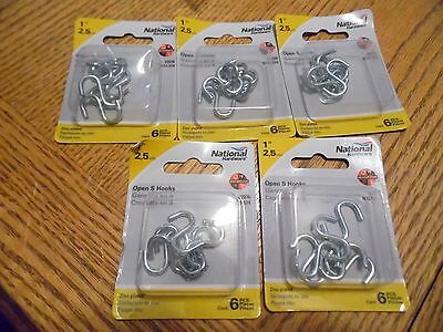 """5 NATIONAL N121-574,  1"""" OPEN S HOOK ZINC PLATED 5 packs of 6  NEW [KC5]"""