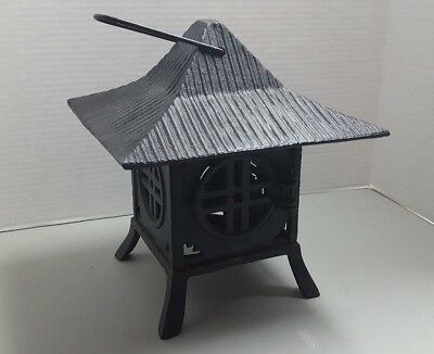VTG Cast Iron Japanese Inspired Garden Lantern Light Lamp Metal Art Deco